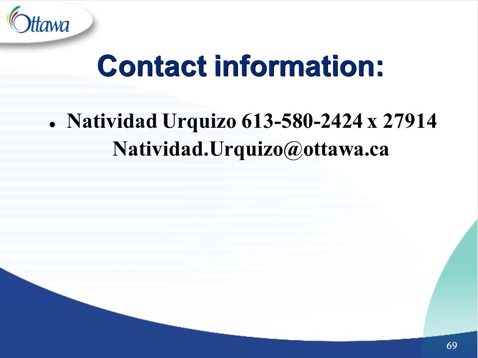 69 Contact information: l Natividad Urquizo x