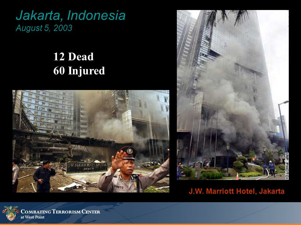 C OMBATING T ERRORISM C ENTER at West Point Jakarta, Indonesia August 5, 2003 12 Dead 60 Injured J.W.