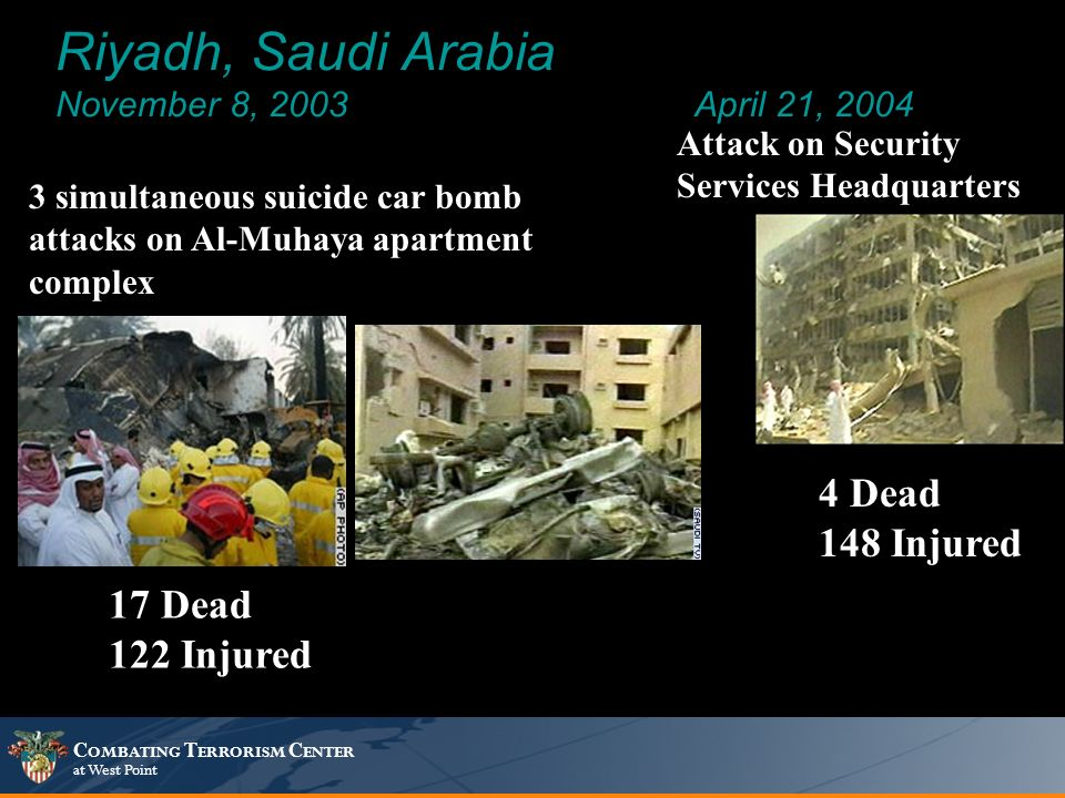 C OMBATING T ERRORISM C ENTER at West Point Riyadh, Saudi Arabia November 8, 2003April 21, 2004 4 Dead 148 Injured 3 simultaneous suicide car bomb attacks on Al-Muhaya apartment complex Attack on Security Services Headquarters 17 Dead 122 Injured
