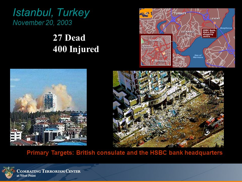 C OMBATING T ERRORISM C ENTER at West Point Istanbul, Turkey November 20, 2003 27 Dead 400 Injured Primary Targets: British consulate and the HSBC bank headquarters