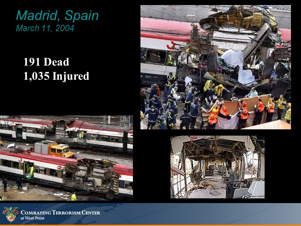 C OMBATING T ERRORISM C ENTER at West Point Madrid, Spain March 11, 2004 191 Dead 1,035 Injured