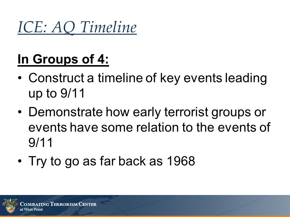 C OMBATING T ERRORISM C ENTER at West Point ICE: AQ Timeline In Groups of 4: Construct a timeline of key events leading up to 9/11 Demonstrate how early terrorist groups or events have some relation to the events of 9/11 Try to go as far back as 1968