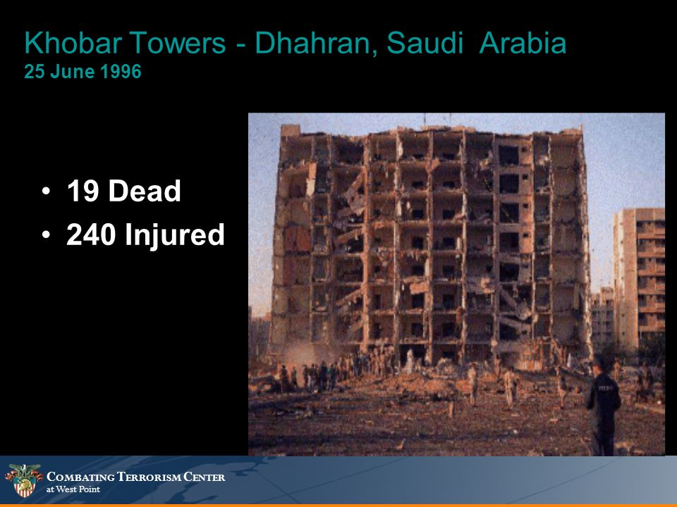 C OMBATING T ERRORISM C ENTER at West Point Khobar Towers - Dhahran, Saudi Arabia 25 June 1996 19 Dead 240 Injured