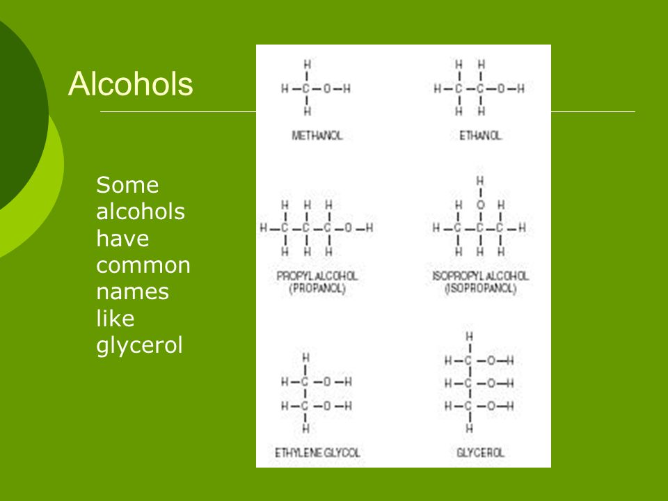 Alcohols Some alcohols have common names like glycerol