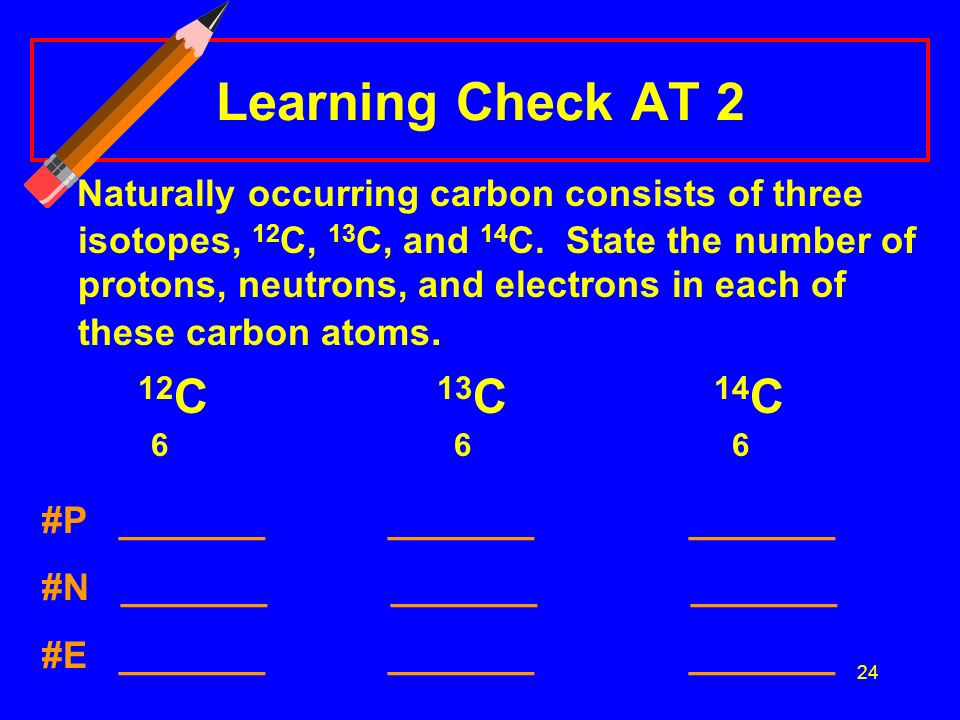 24 Learning Check AT 2 Naturally occurring carbon consists of three isotopes, 12 C, 13 C, and 14 C.