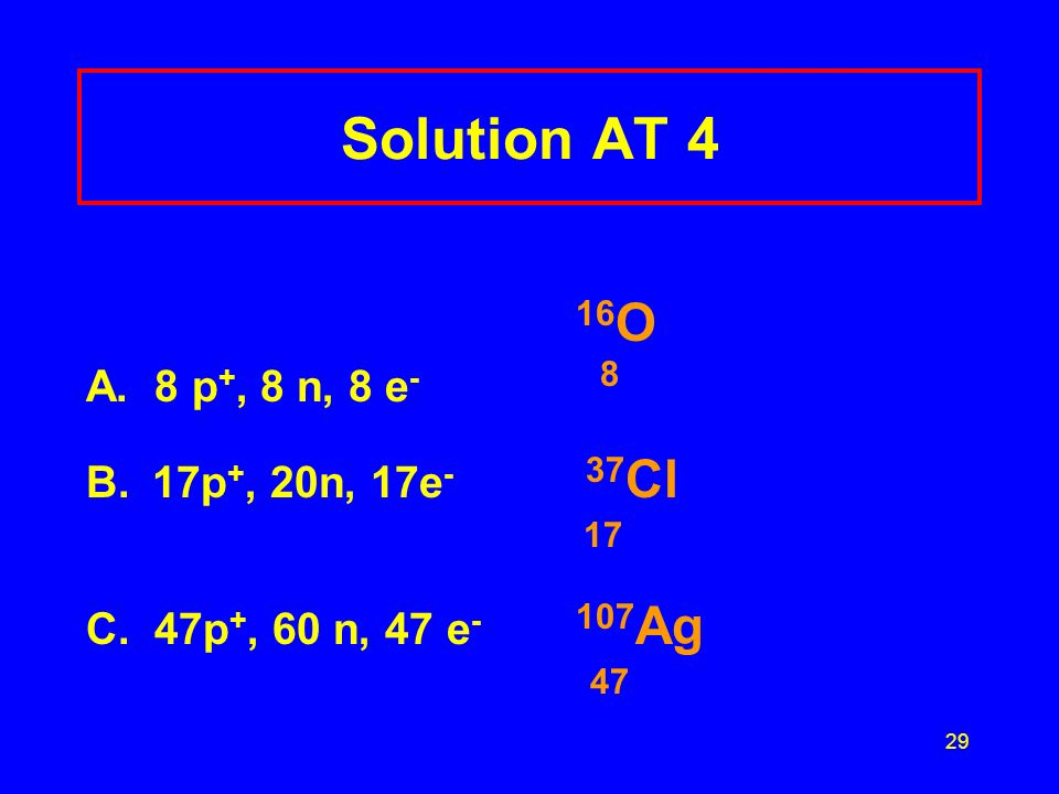29 Solution AT 4 16 O A. 8 p +, 8 n, 8 e - 8 B.17p +, 20n, 17e - 37 Cl 17 C.
