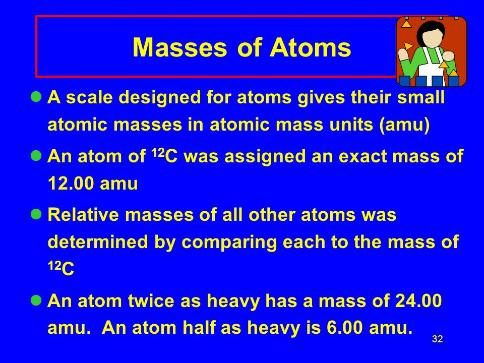 32 Masses of Atoms A scale designed for atoms gives their small atomic masses in atomic mass units (amu) An atom of 12 C was assigned an exact mass of 12.00 amu Relative masses of all other atoms was determined by comparing each to the mass of 12 C An atom twice as heavy has a mass of 24.00 amu.