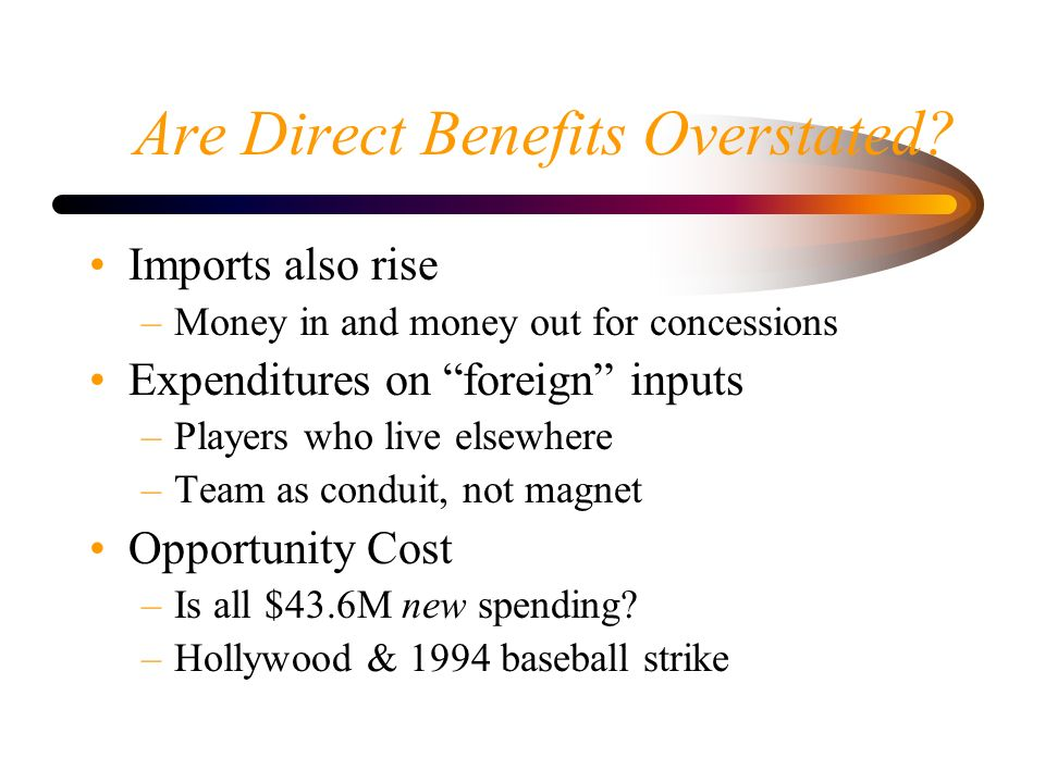 Are Direct Benefits Overstated? Imports also rise –Money in and money out for concessions Expenditures on foreign inputs –Players who live elsewhere –