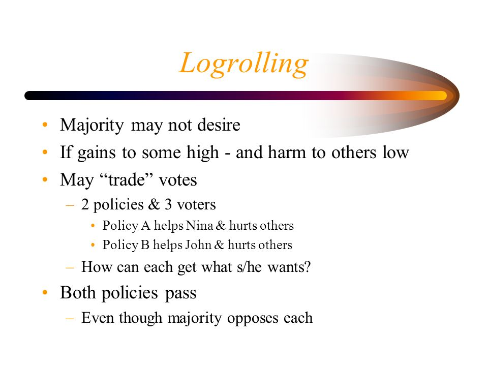 Logrolling Majority may not desire If gains to some high - and harm to others low May trade votes –2 policies & 3 voters Policy A helps Nina & hurts o