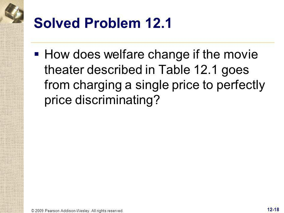 © 2009 Pearson Addison-Wesley. All rights reserved. 12-18 Solved Problem 12.1 How does welfare change if the movie theater described in Table 12.1 goe