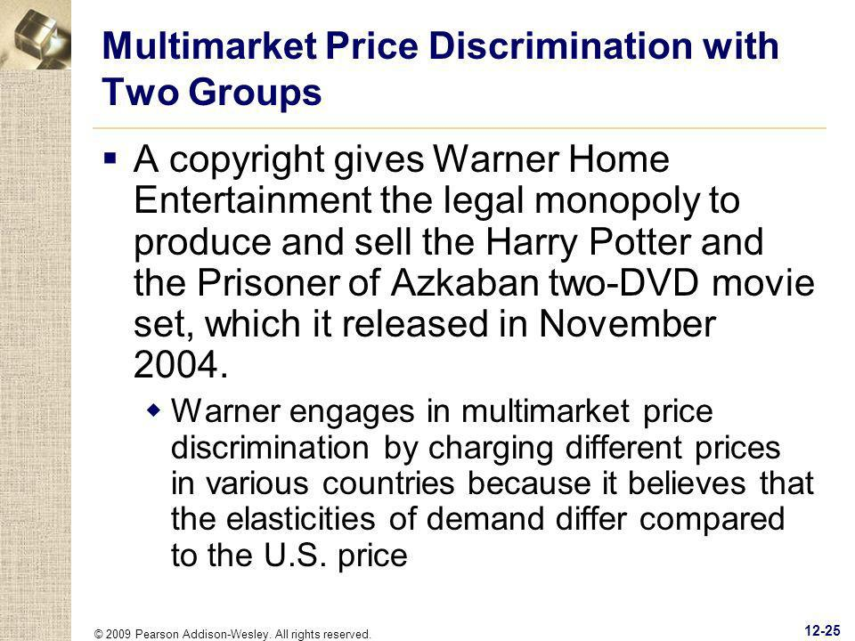 © 2009 Pearson Addison-Wesley. All rights reserved. 12-25 Multimarket Price Discrimination with Two Groups A copyright gives Warner Home Entertainment