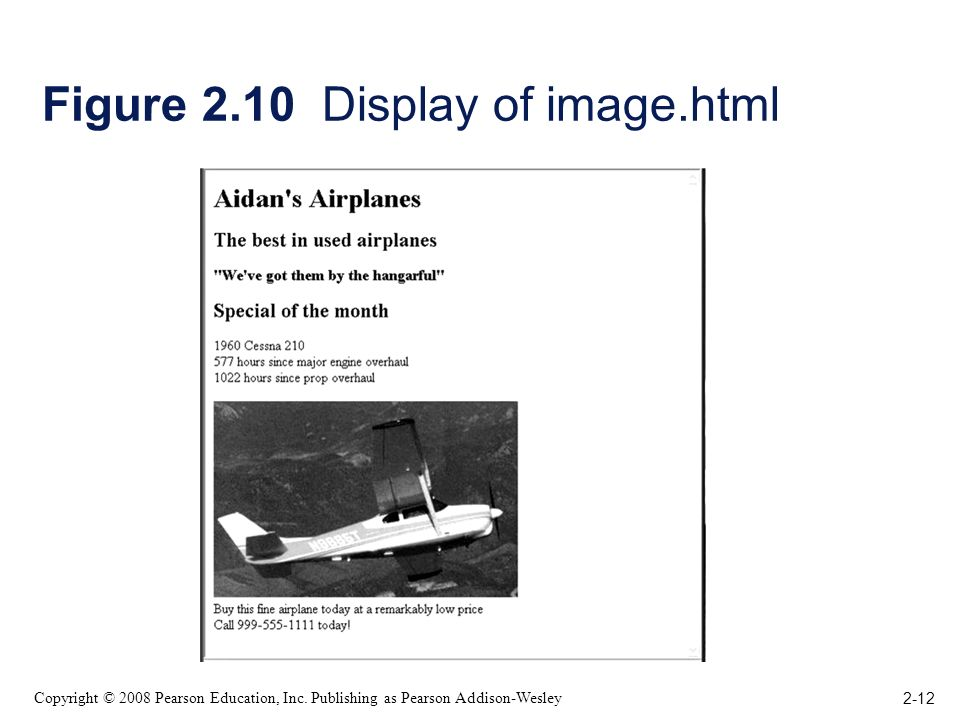 2-12 Copyright © 2008 Pearson Education, Inc. Publishing as Pearson Addison-Wesley Figure 2.10 Display of image.html