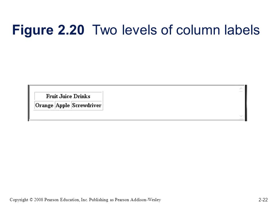 2-22 Copyright © 2008 Pearson Education, Inc. Publishing as Pearson Addison-Wesley Figure 2.20 Two levels of column labels