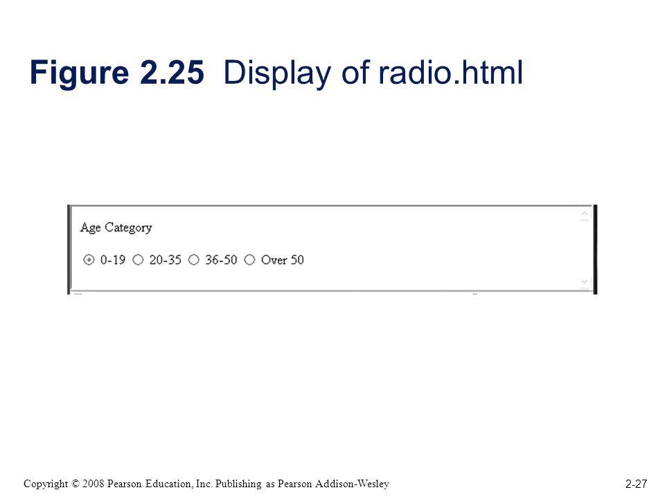 2-27 Copyright © 2008 Pearson Education, Inc. Publishing as Pearson Addison-Wesley Figure 2.25 Display of radio.html