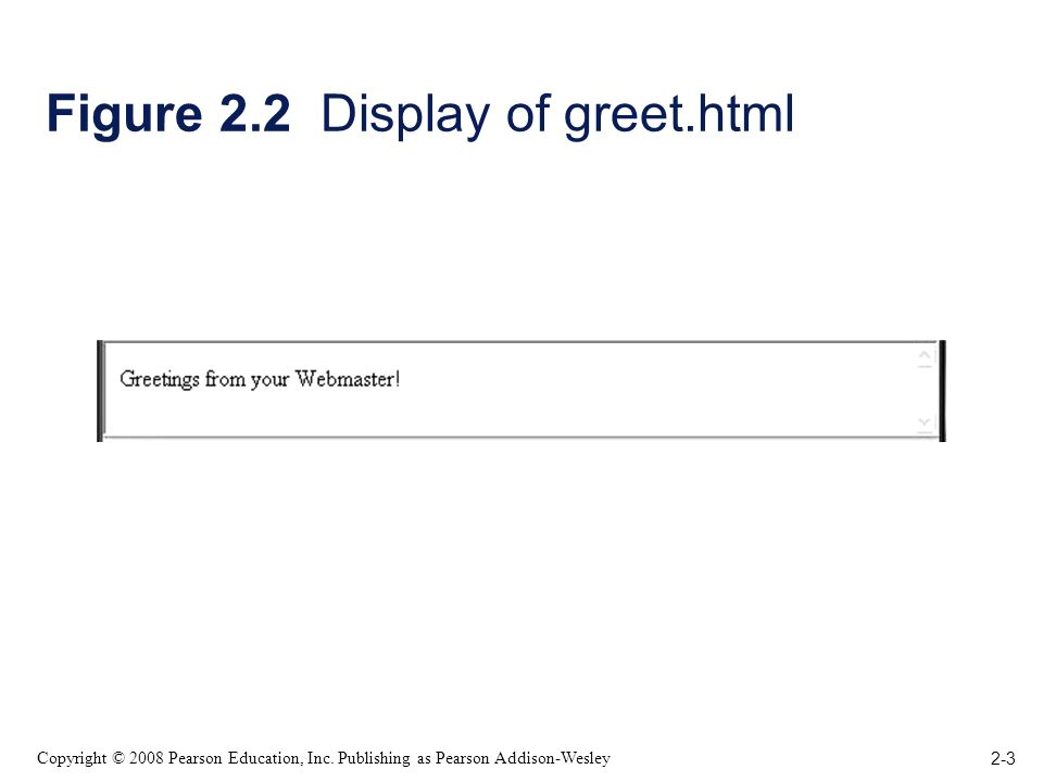 2-3 Copyright © 2008 Pearson Education, Inc. Publishing as Pearson Addison-Wesley Figure 2.2 Display of greet.html