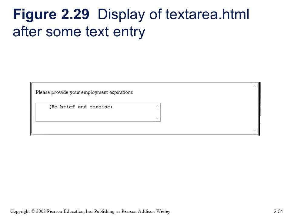 2-31 Copyright © 2008 Pearson Education, Inc. Publishing as Pearson Addison-Wesley Figure 2.29 Display of textarea.html after some text entry