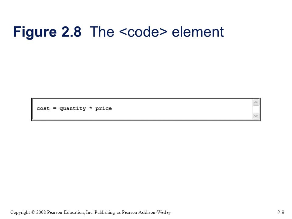 2-9 Copyright © 2008 Pearson Education, Inc. Publishing as Pearson Addison-Wesley Figure 2.8 The element