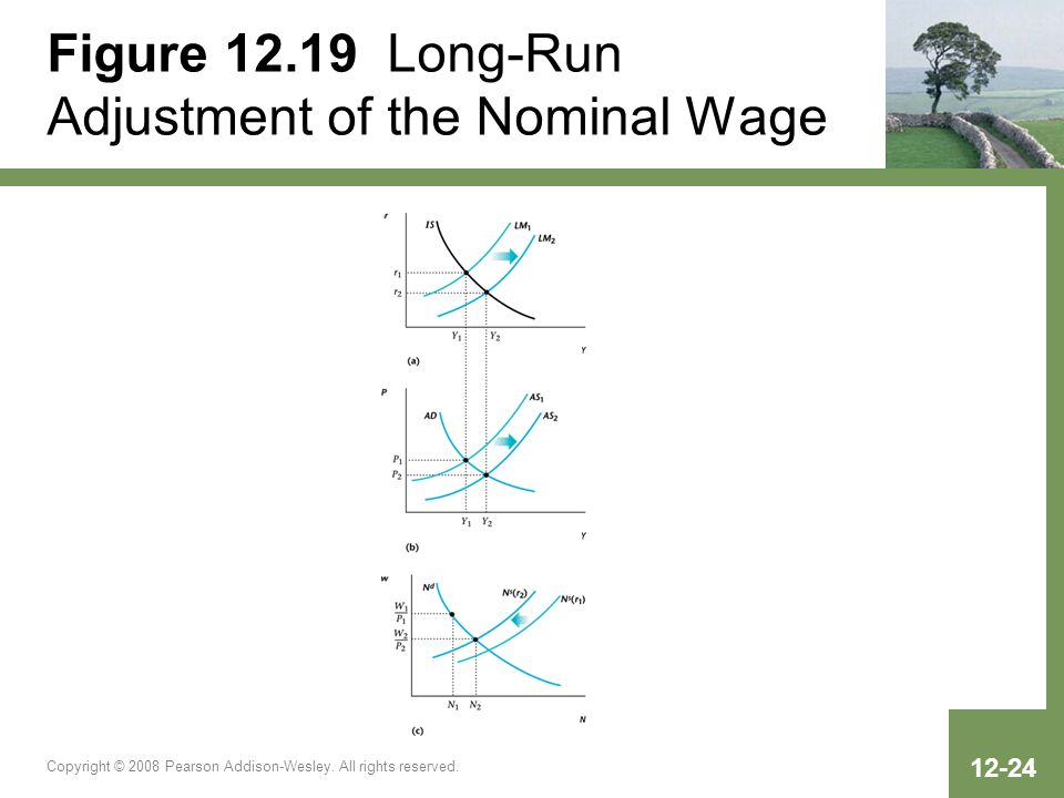 Copyright © 2008 Pearson Addison-Wesley. All rights reserved. 12-24 Figure 12.19 Long-Run Adjustment of the Nominal Wage