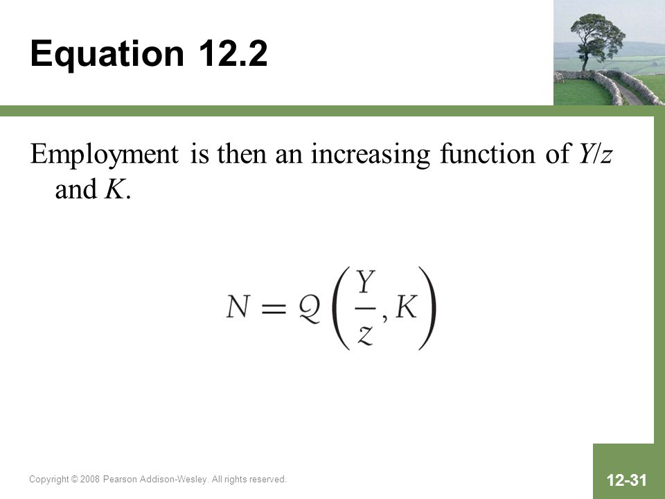 Copyright © 2008 Pearson Addison-Wesley. All rights reserved. 12-31 Equation 12.2 Employment is then an increasing function of Y/z and K.