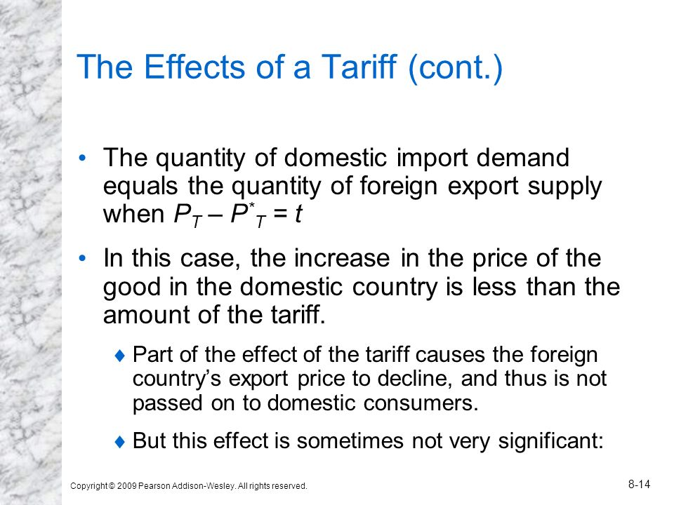 Copyright © 2009 Pearson Addison-Wesley. All rights reserved. 8-14 The Effects of a Tariff (cont.) The quantity of domestic import demand equals the q