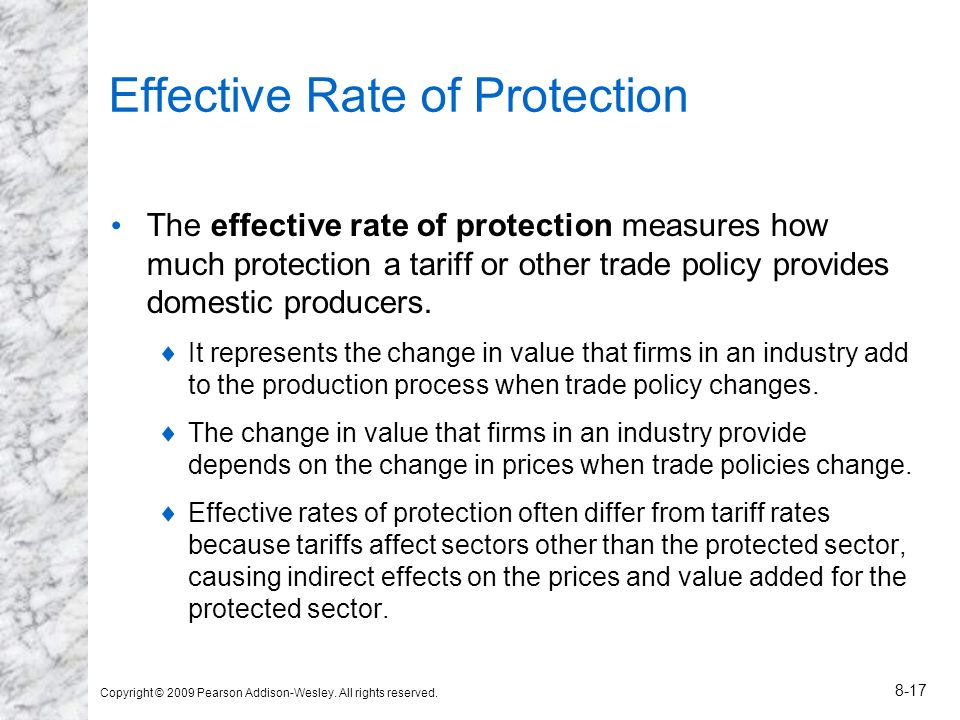 Copyright © 2009 Pearson Addison-Wesley. All rights reserved. 8-17 Effective Rate of Protection The effective rate of protection measures how much pro