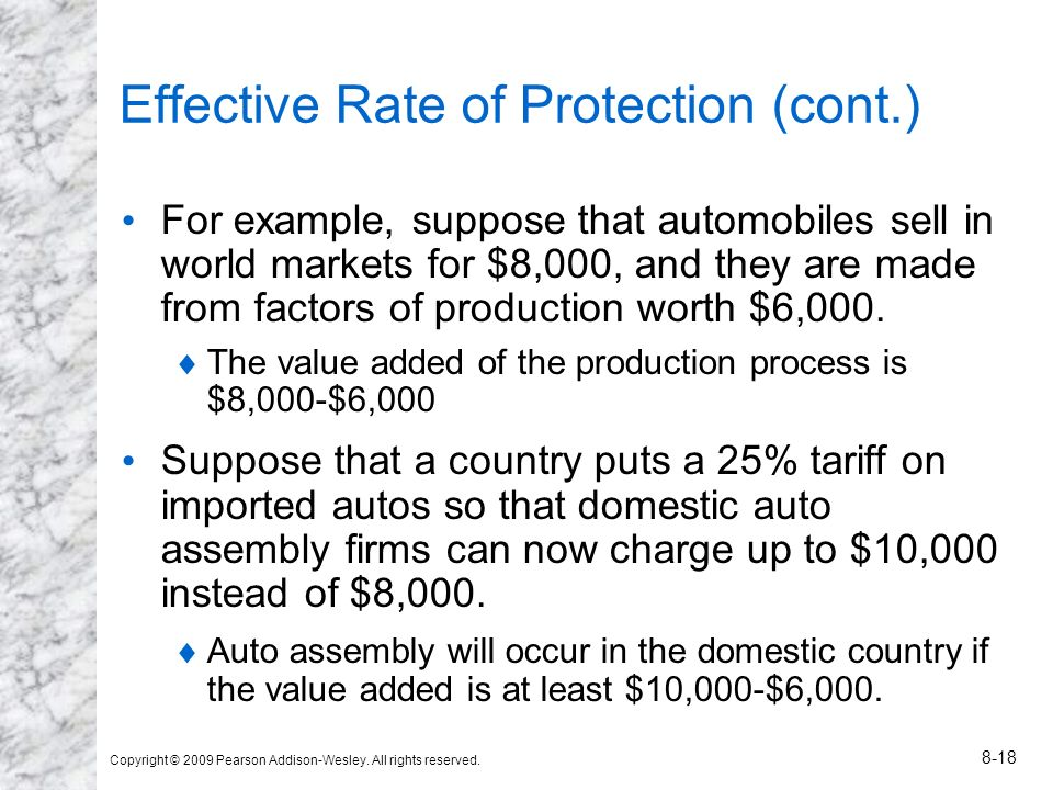 Copyright © 2009 Pearson Addison-Wesley. All rights reserved. 8-18 Effective Rate of Protection (cont.) For example, suppose that automobiles sell in