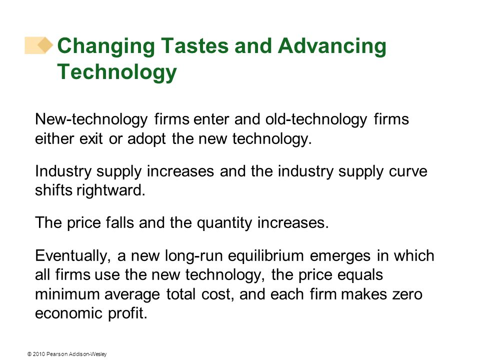 © 2010 Pearson Addison-Wesley New-technology firms enter and old-technology firms either exit or adopt the new technology. Industry supply increases a