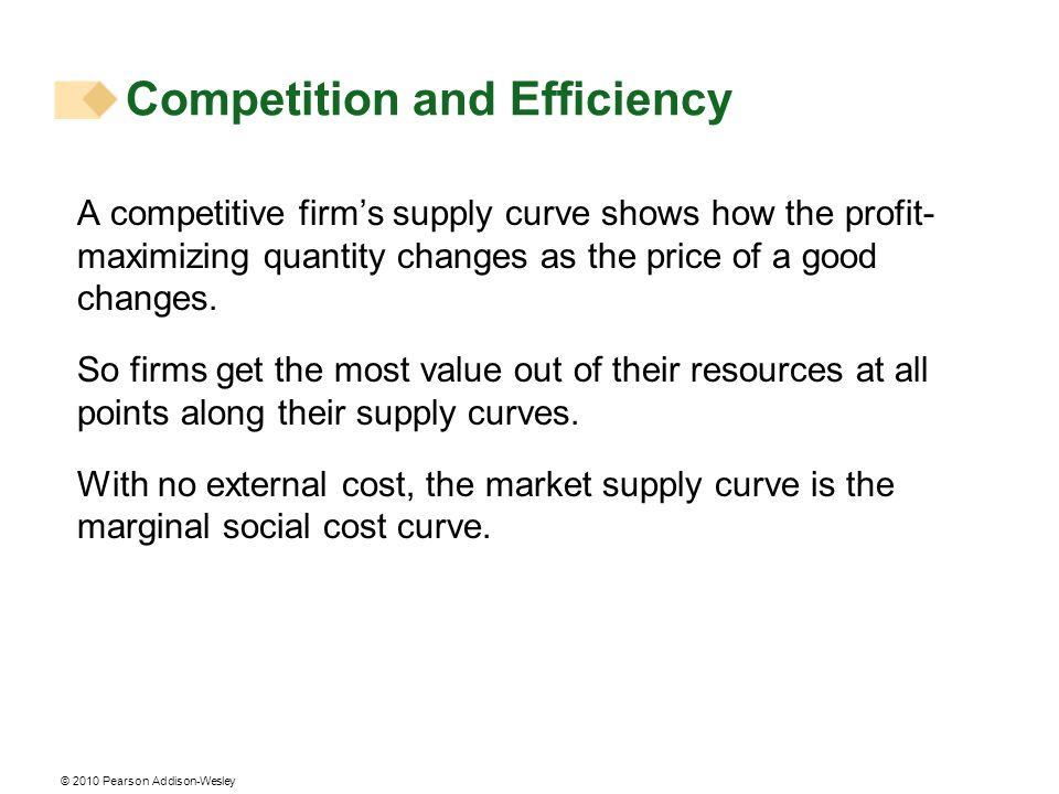 © 2010 Pearson Addison-Wesley A competitive firms supply curve shows how the profit- maximizing quantity changes as the price of a good changes. So fi