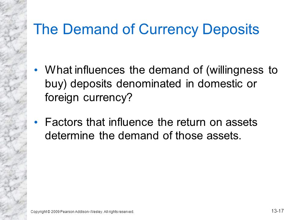 Copyright © 2009 Pearson Addison-Wesley. All rights reserved. 13-17 The Demand of Currency Deposits What influences the demand of (willingness to buy)