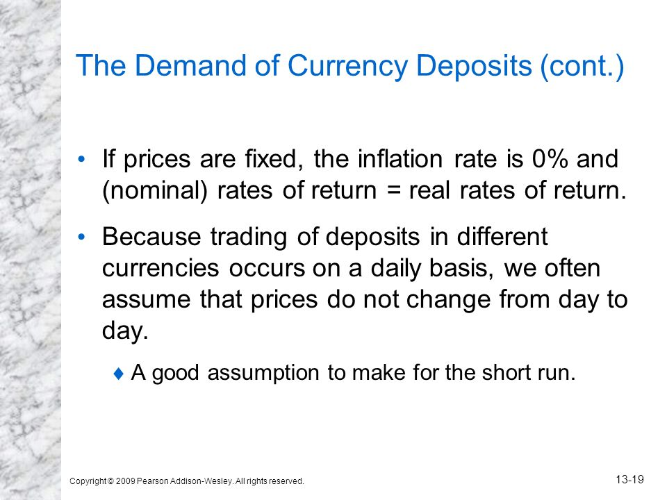Copyright © 2009 Pearson Addison-Wesley. All rights reserved. 13-19 The Demand of Currency Deposits (cont.) If prices are fixed, the inflation rate is