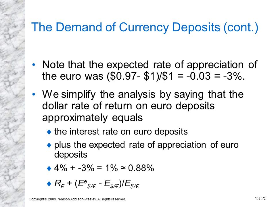 Copyright © 2009 Pearson Addison-Wesley. All rights reserved. 13-25 The Demand of Currency Deposits (cont.) Note that the expected rate of appreciatio