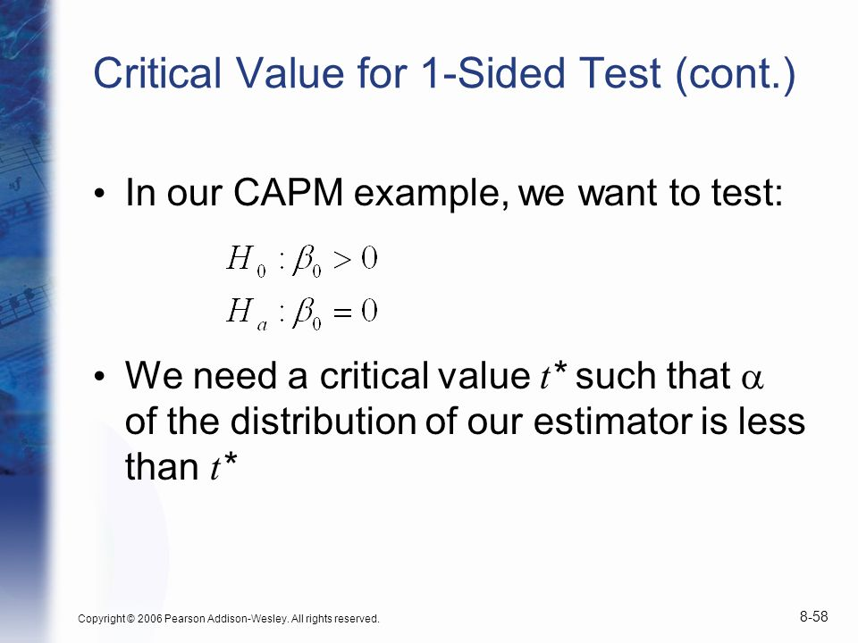 Copyright © 2006 Pearson Addison-Wesley. All rights reserved. 8-58 Critical Value for 1-Sided Test (cont.) In our CAPM example, we want to test: We ne