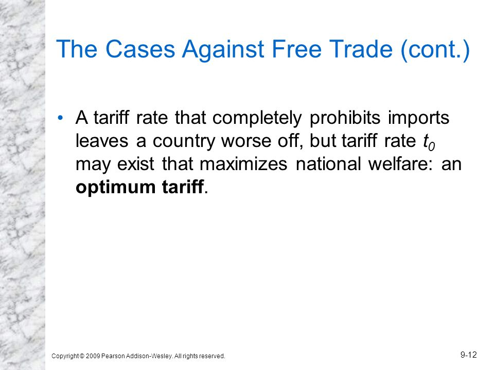 Copyright © 2009 Pearson Addison-Wesley. All rights reserved. 9-12 The Cases Against Free Trade (cont.) A tariff rate that completely prohibits import