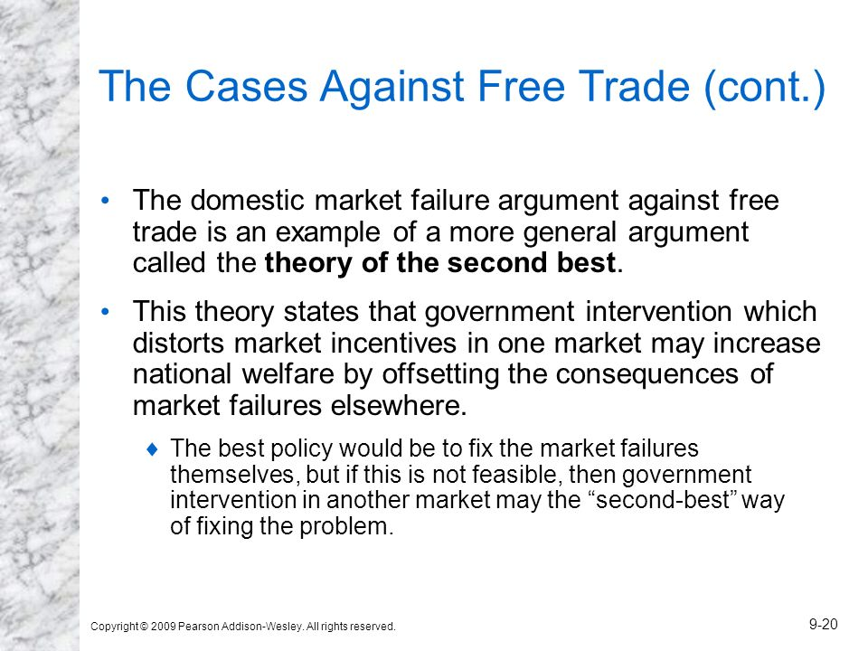 Copyright © 2009 Pearson Addison-Wesley. All rights reserved. 9-20 The Cases Against Free Trade (cont.) The domestic market failure argument against f
