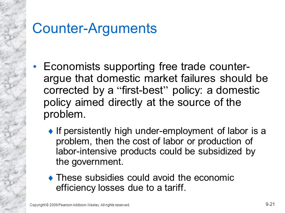 Copyright © 2009 Pearson Addison-Wesley. All rights reserved. 9-21 Counter-Arguments Economists supporting free trade counter- argue that domestic mar