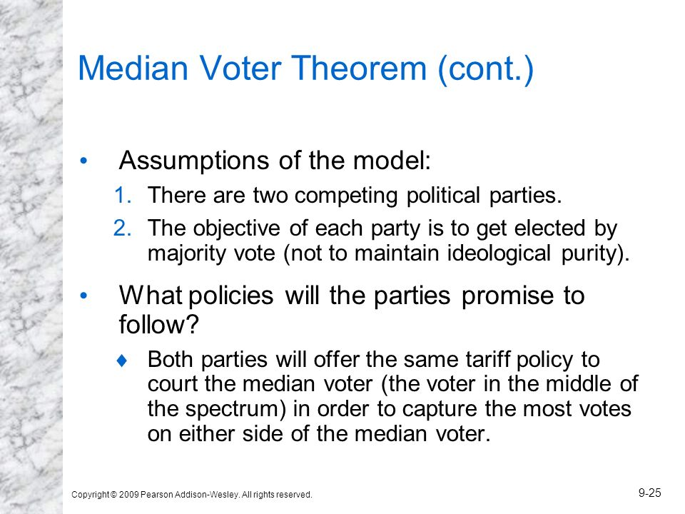 Copyright © 2009 Pearson Addison-Wesley. All rights reserved. 9-25 Median Voter Theorem (cont.) Assumptions of the model: 1.There are two competing po