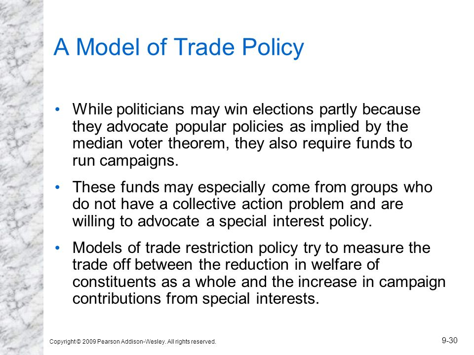 Copyright © 2009 Pearson Addison-Wesley. All rights reserved. 9-30 A Model of Trade Policy While politicians may win elections partly because they adv