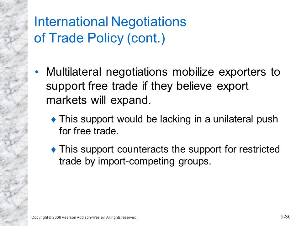 Copyright © 2009 Pearson Addison-Wesley. All rights reserved. 9-36 International Negotiations of Trade Policy (cont.) Multilateral negotiations mobili