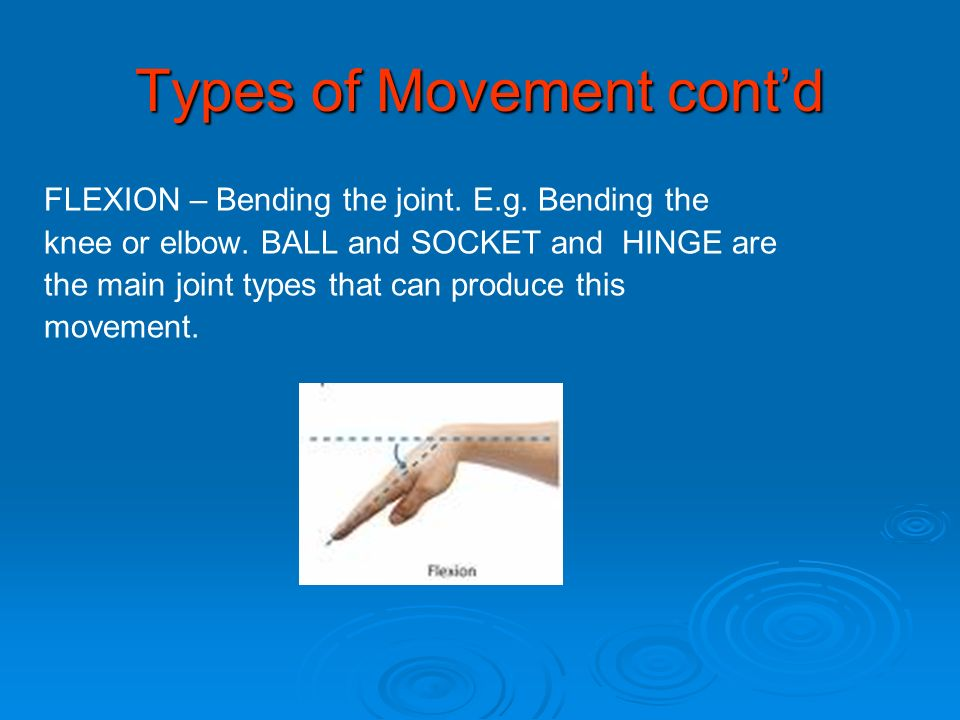 Types of Movement contd FLEXION – Bending the joint. E.g. Bending the knee or elbow. BALL and SOCKET and HINGE are the main joint types that can produ