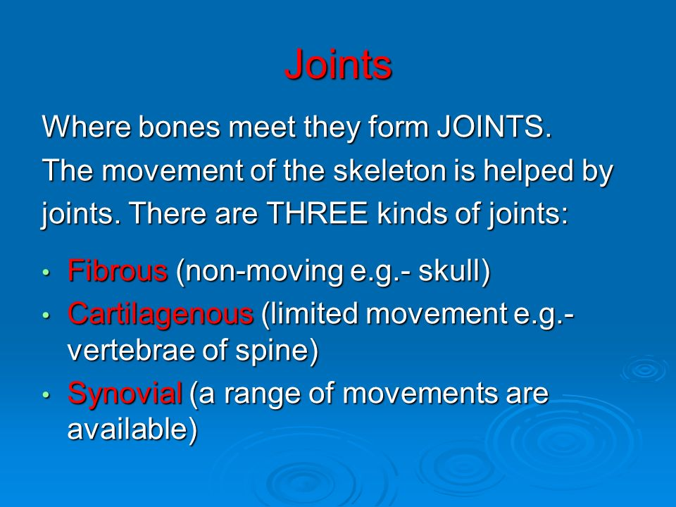 Joints Where bones meet they form JOINTS. The movement of the skeleton is helped by joints. There are THREE kinds of joints: Fibrous (non-moving e.g.-