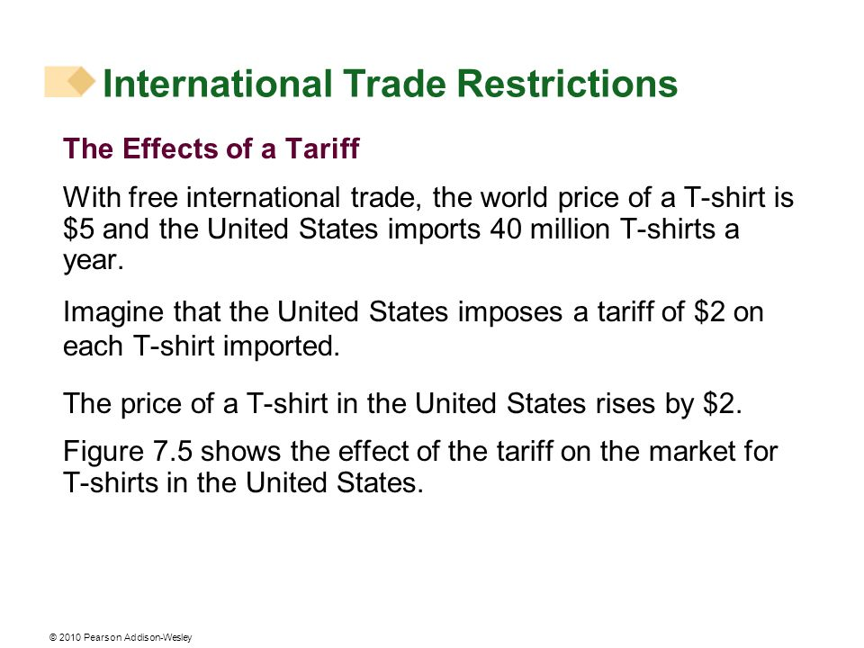 © 2010 Pearson Addison-Wesley The Effects of a Tariff With free international trade, the world price of a T-shirt is $5 and the United States imports