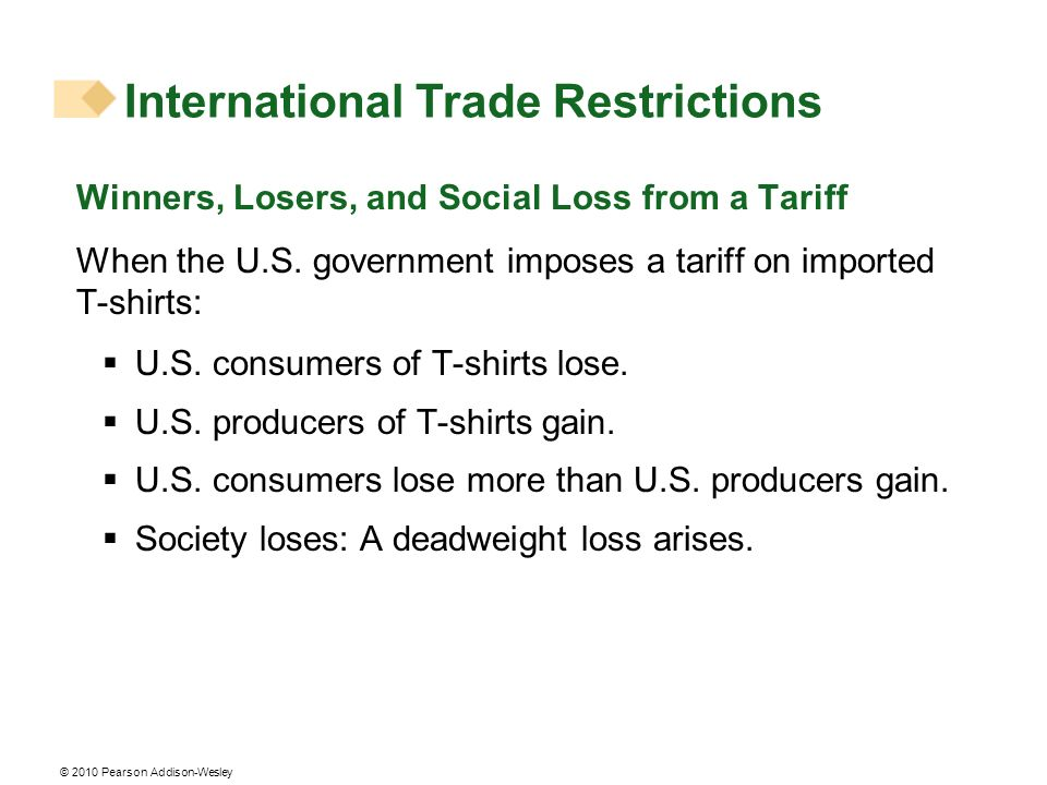 © 2010 Pearson Addison-Wesley Winners, Losers, and Social Loss from a Tariff When the U.S. government imposes a tariff on imported T-shirts: U.S. cons