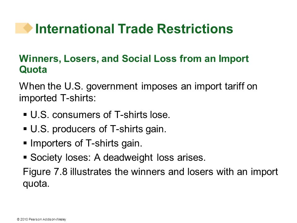 © 2010 Pearson Addison-Wesley Winners, Losers, and Social Loss from an Import Quota When the U.S. government imposes an import tariff on imported T-sh
