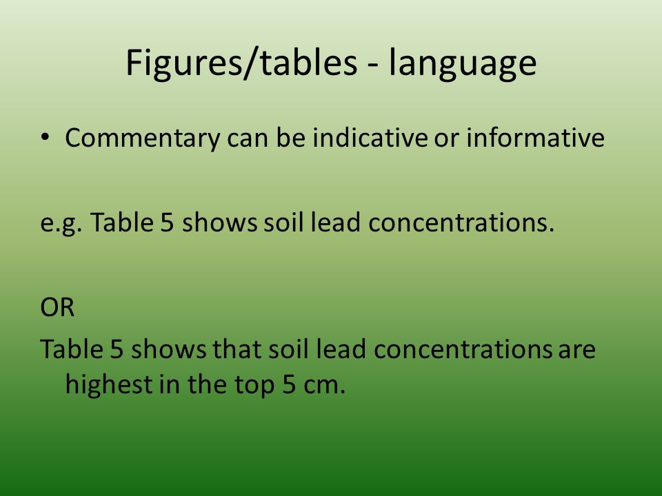Figures/tables - language Commentary can be indicative or informative e.g.