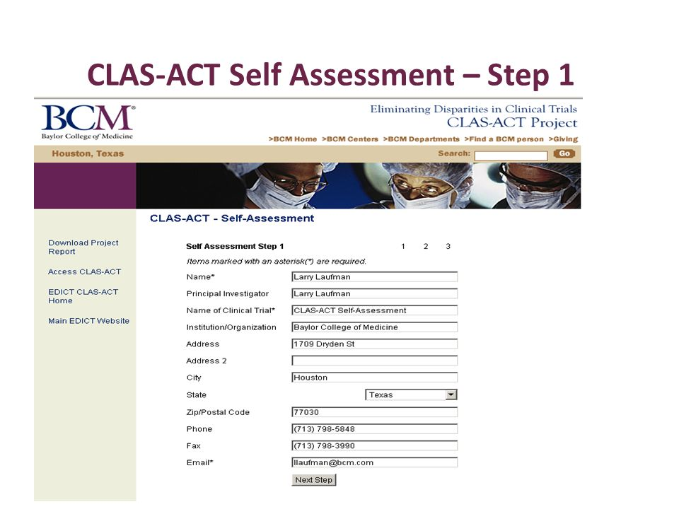 CLAS-ACT Self Assessment – Step 1