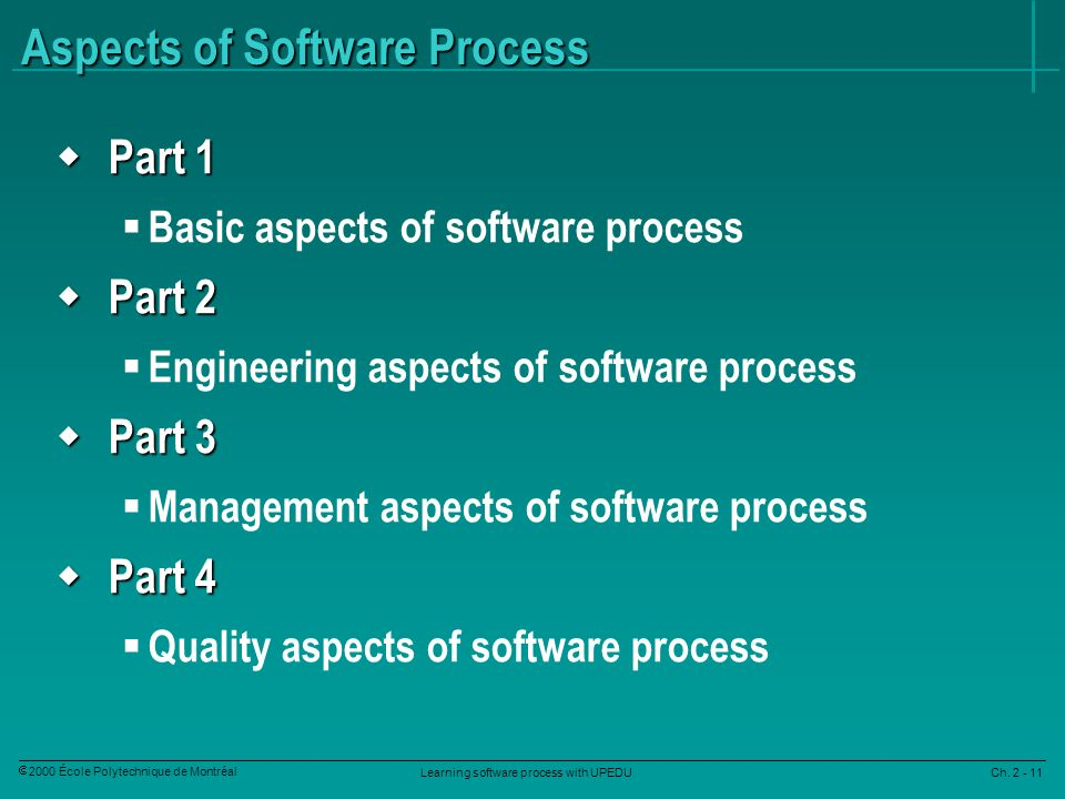Learning software process with UPEDU Ch. 2 - 11 2000 École Polytechnique de Montréal Aspects of Software Process Part 1 Part 1 Basic aspects of softwa