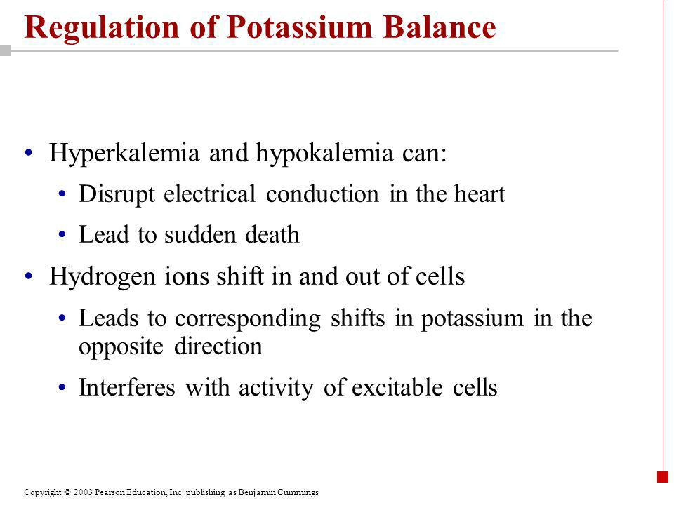 Copyright © 2003 Pearson Education, Inc. publishing as Benjamin Cummings Regulation of Potassium Balance Hyperkalemia and hypokalemia can: Disrupt ele