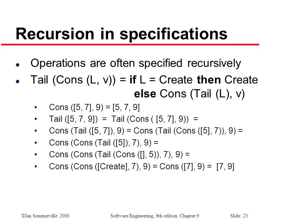©Ian Sommerville 2000Software Engineering, 6th edition. Chapter 9 Slide 23 Recursion in specifications l Operations are often specified recursively l
