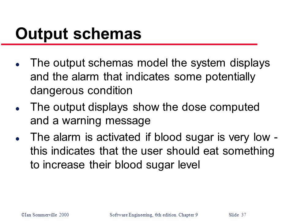 ©Ian Sommerville 2000Software Engineering, 6th edition. Chapter 9 Slide 37 Output schemas l The output schemas model the system displays and the alarm
