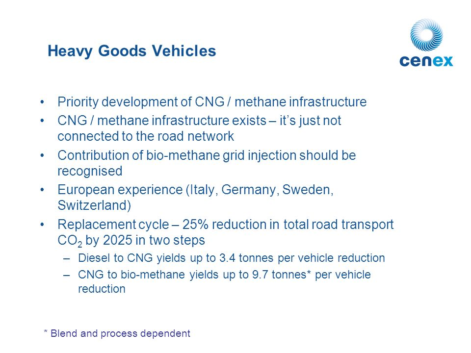 Heavy Goods Vehicles Priority development of CNG / methane infrastructure CNG / methane infrastructure exists – its just not connected to the road network Contribution of bio-methane grid injection should be recognised European experience (Italy, Germany, Sweden, Switzerland) Replacement cycle – 25% reduction in total road transport CO 2 by 2025 in two steps –Diesel to CNG yields up to 3.4 tonnes per vehicle reduction –CNG to bio-methane yields up to 9.7 tonnes* per vehicle reduction * Blend and process dependent